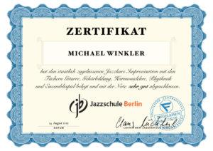 Jazz School Berlin - certificate